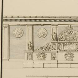 Plan and elevation of the fountain called the Emperor's Pillar on the wall that defends the main gate of the fortress