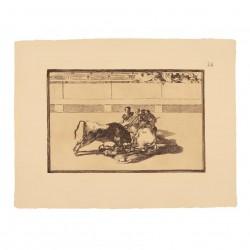 Caída de un picador de su caballo debajo del toro (Tauromaquia Nº26)