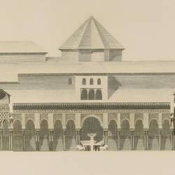 Profile of the arab palace that shows the Court of the Lions