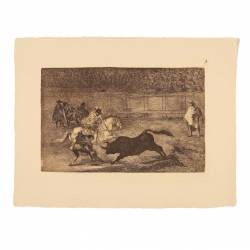 Spanish gentleman spears with the help of the pawns (Tauromaquia Plate A)