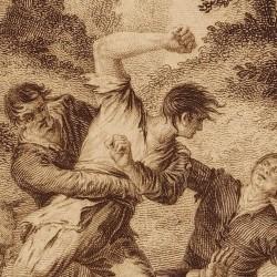 Cardenio hits Don Quixote (6th plate)