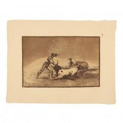 Un caballero español mata un toro después de haber perdido el caballo (Tauromaquia Nº9)