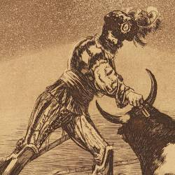A Spanish knight kills a bull after having lost his horse (Tauromaquia Plate 9)