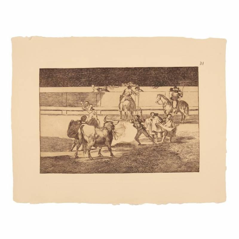 Caída de un picador de su caballo debajo del toro (Tauromaquia