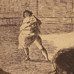 "Pepe Illo making ""el recorte"" to the bull (Tauromaquia Plate 29)"