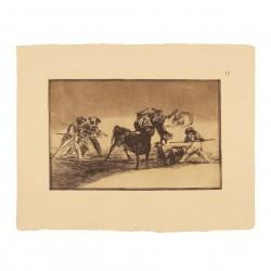 Palenque de los moros hecho con burros para defenderse del toro embolado (Tauromaquia Nº17)