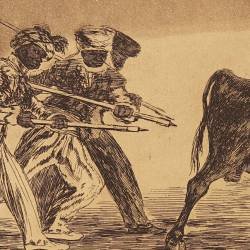 The Moors use donkeys as a barrier to defend themselves against the fire bull (Tauromaquia Plate 17)