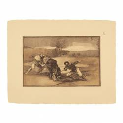 Another way of hunting on foot (Tauromaquia Plate 2)