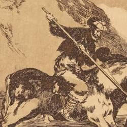 The way in which the ancient Spaniards hunted bulls on horseback in the open country (Tauromaquia Plate 1)