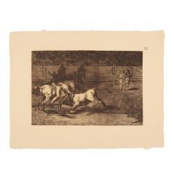 Mariano Ceballos, alias the Indian, kills the bull from his horse (Tauromaquia Plate 23)