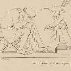 Iris orders Priam to bring gifts to Achilles to obtain the rescue of her son's body (Book XXIV. Plate 38)