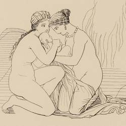 Thetis and Eurinome collect Vulcan precipitated by his mother from the top of Olympus (Book XVIII. Plate 29)