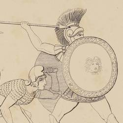 Greeks and Trojans fight around the body of Patroclus (Book XVII. Plate 26)
