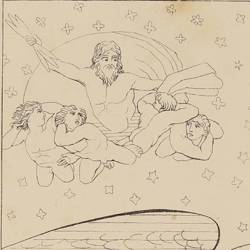 Covers the night with their wings to the dream that Jupiter would precipitate from the top of Olympus (Book XIV. Plate 23)