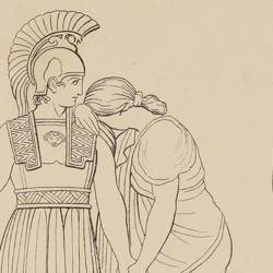 Hector says goodbye to Andrómaca (Book VI. Plate 14)