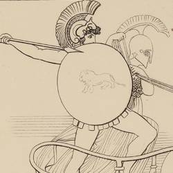 Protected by Minerva, Diomedes wounds the God Mars (Book V. Plate 12)