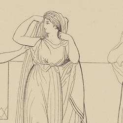 Venus under the guise of a servant of Helena announces to her the upcoming arrival of Paris